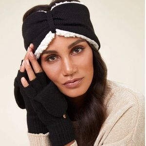 NWT BearPaw Black Headband & POP-Top Glove Set